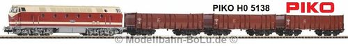 PIKO H0 57138 Start-Set mit Bettung BR 119 + 3 Hochbordwagen
