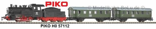 PIKO H0 57112 Start-Set mit Bettung Personenzug Dampflok mit Tender