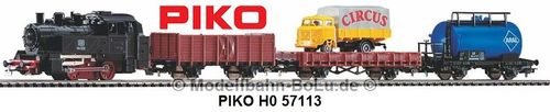 PIKO H0 57113 Start-Set mit Bettung Güterzug